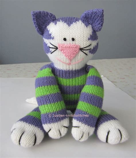 cat knitting justjen knits stitches knitted cat pattern