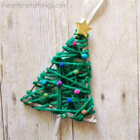 how to make a tree with ornaments yarn wrapped tree twig ornament i crafty