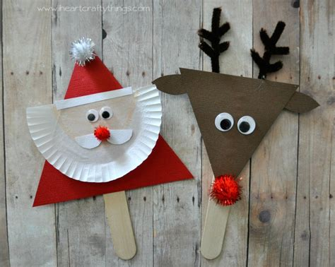 easy reindeer crafts for santa and reindeer stick puppets puppet santa and craft