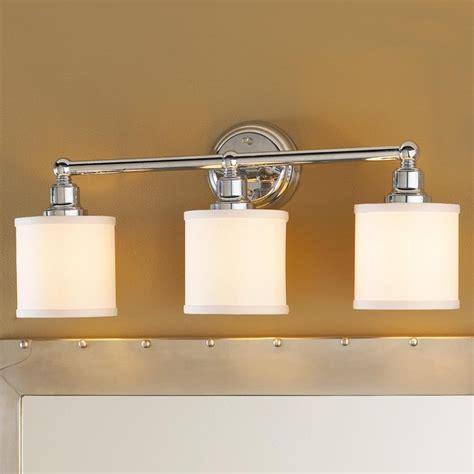bathroom light shade 3 light linen drum shade bath light bronze or chrome