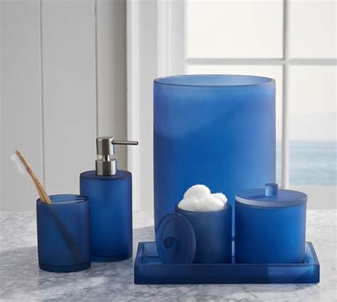 pottery bathroom accessories serra mix and match bath accessories navy blue pottery