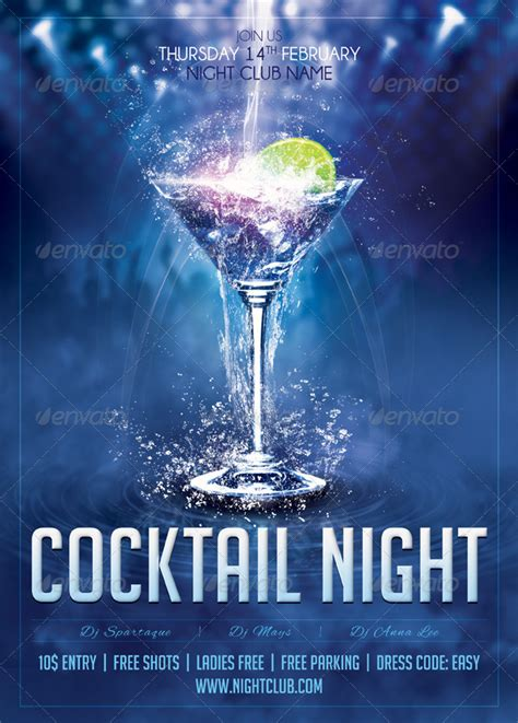 cocktail night poster template amp cocktail night flyer by
