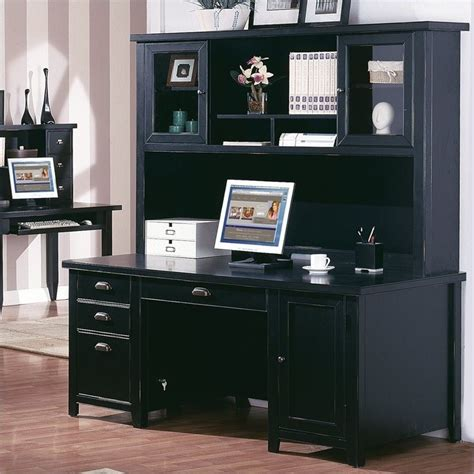 black office desk with hutch kathy ireland home by martin tribeca loft pedestal