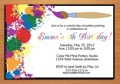 make birthday invitation cards for free painting artist customized printable by sapphiredigitalworks