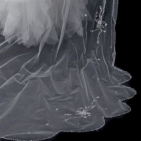beaded cathedral veil princess layer beaded cathedral length veil