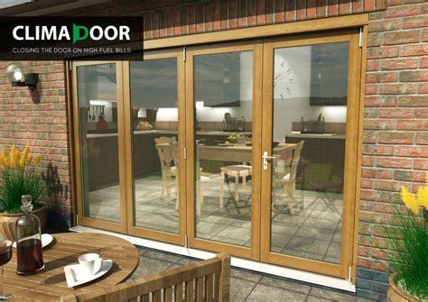 solid oak patio doors solid oak climadoor supreme bifolding sliding doors