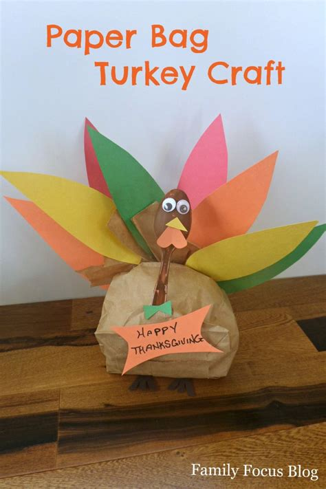 turkey paper bag craft paper bag turkey for thanksgiving family focus