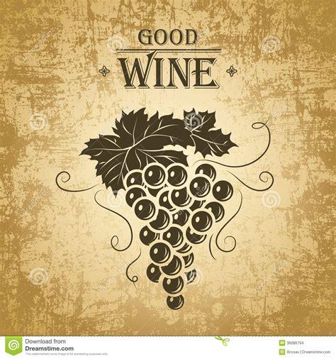 mazzo di uva per le etichette di vino illustrazione