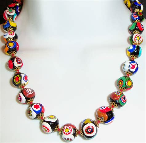 glass bead necklaces vintage millefiori venetian murano glass bead necklace