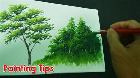 paint tree acrylic painting lesson how to paint tree leaves by