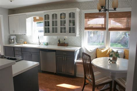 grey and white kitchen cabinets gray and white kitchen makeover with hexagon tile