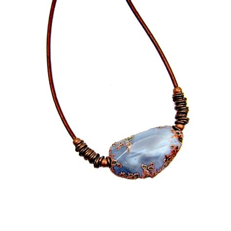 leather cord for jewelry gray agate unisex pendant on copper leather cord necklace