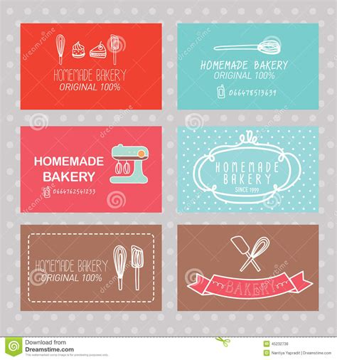 card for card bakery business card stock vector image 45232738