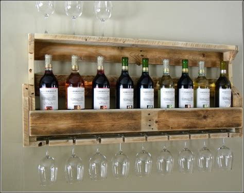 wall mounted homemade wine rack with glass shelf and