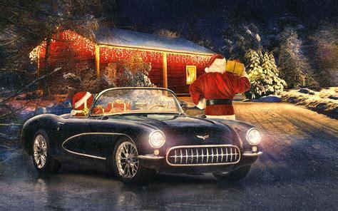 Car Wallpaper Winter by Corvette Classic Car Winter Snow Lights New Year