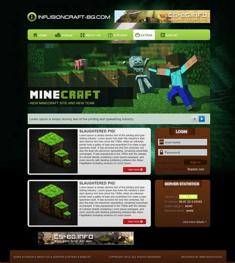 craft websites for free simple minecraft template by mconev on deviantart