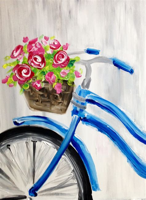 paint nite ideas roses and blue bicycle at cigar bar the 30