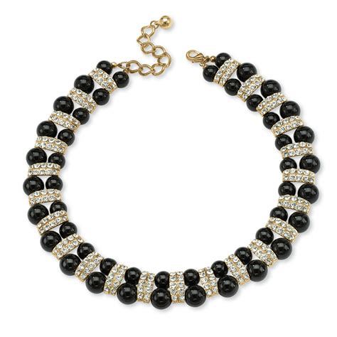 beaded necklaces black beaded necklace with accents in yellow gold