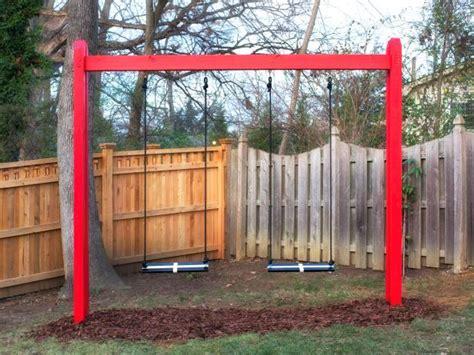 diy backyard swing how to build a wooden swing set hgtv
