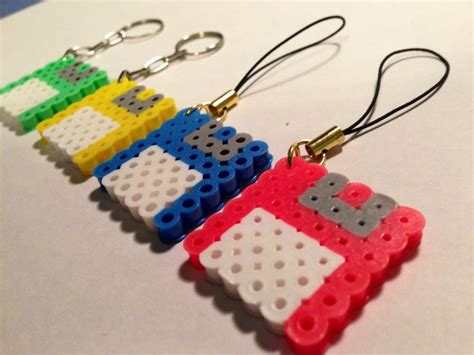 perler bead keychain floppy disk perler keychain and charm set of 2