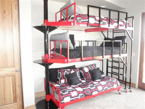 3 bunk beds contemporary 3 tierd pivoting bunk bed for the home