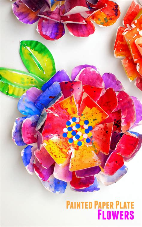 flower paper craft hyper colorful painted paper plate flowers pink stripey