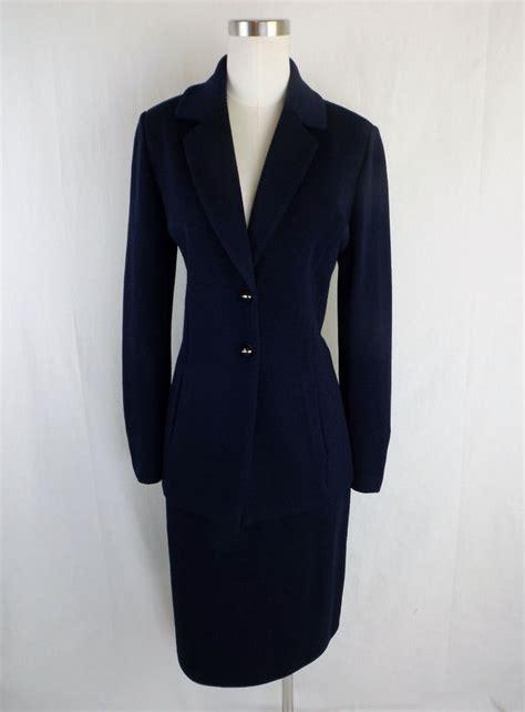 st knit suits st basics skirt suit navy 4 santana knit usa blazer w