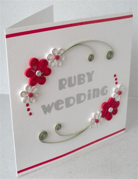 quilling card 40th anniversary card ruby wedding quilled quilling