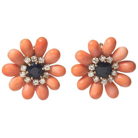 precious coral precious coral sapphire and flower earrings for