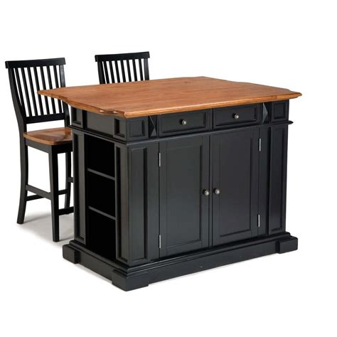 kitchen island cart with seating home styles americana black kitchen island with seating 5003 948 the home depot