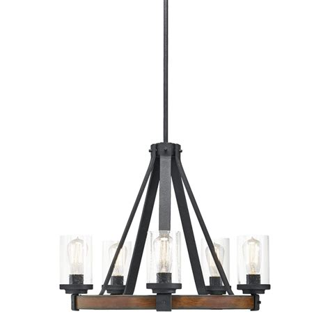 outdoor chandelier lowes shop kichler barrington 24 02 in 5 light distressed black