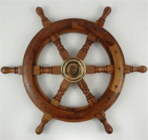 Ship Steering Wheel Wood 18.5in
