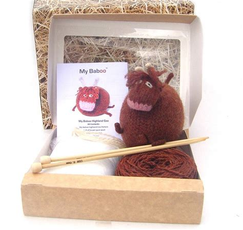 knitted kits highland cow knitting kit by my baboo notonthehighstreet