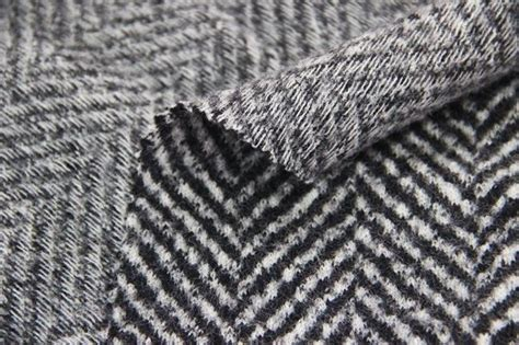 wool knit fabric herringbone jacquard pattern knit wool fabric black and
