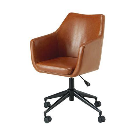 fauteuil de bureau en textile enduit marron vieilli davis maisons du monde