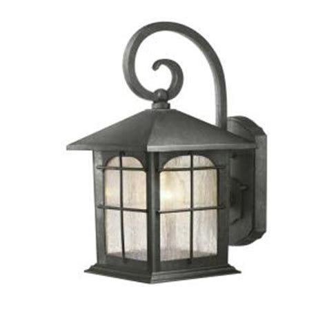 home depot outdoor lights hton bay 1 light aged iron outdoor wall lantern y37029