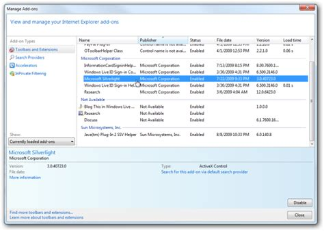 5 add ons troubleshoot and manage addons in explorer 8
