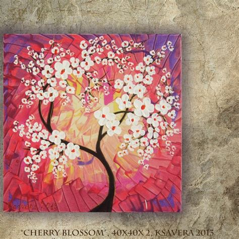 acrylic painting cherry blossom cherry blossom acrylic painting tree of free shipping