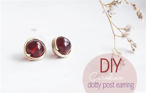how to make sted jewelry diy carnelian dotty post earring