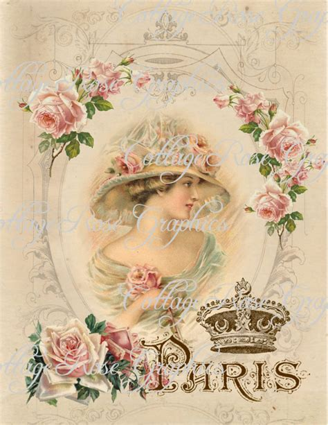 vintage pictures for decoupage large digital charmed in pink roses