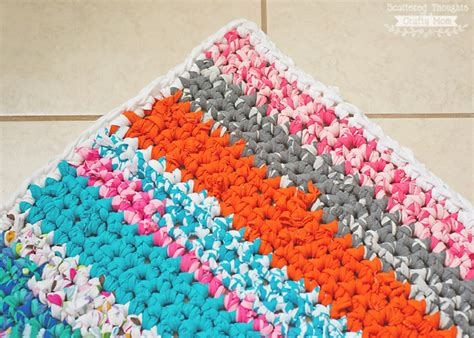 how to crochet a rag rug how to crochet a rag rug with fabric scraps scattered