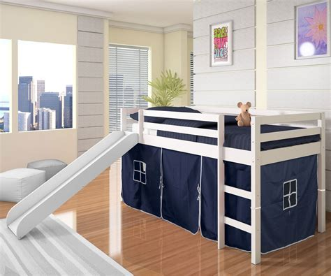 boy bunk bed with slide boys castle low loft bed with slide in white finish
