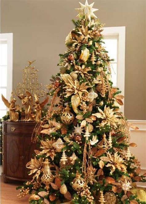 brown decorated tree tree decorations gold and brown