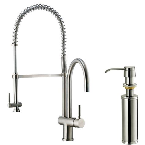 stainless steel kitchen faucet with pull spray vigo single handle pull sprayer kitchen faucet with soap dispenser in stainless steel