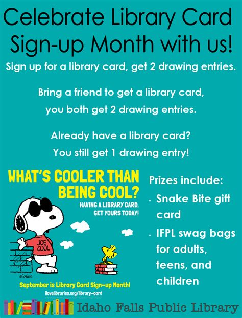 stin up on cards idaho falls library celebrate library card sign up