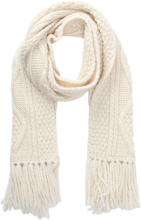 knitted white scarf barneys new york cable knit muffler scarf in white