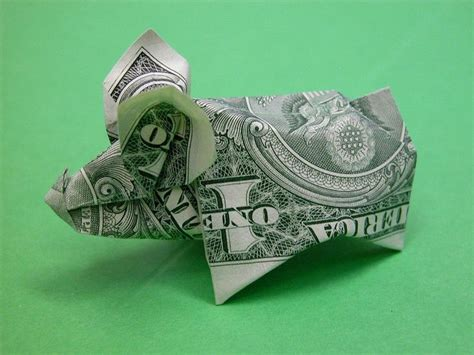 dollar origami pig beautiful money origami pieces many designs made of