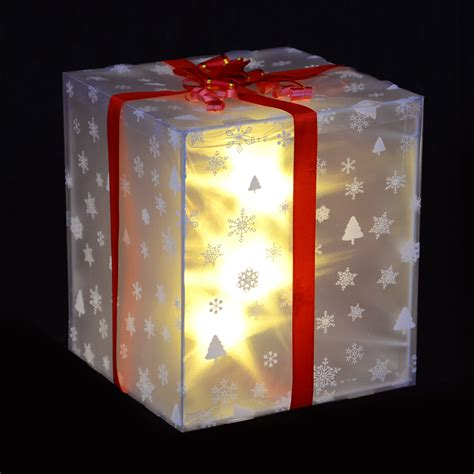 box of decorations gift box decoration with ribbon white led