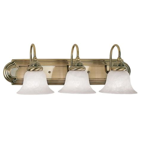 antique brass bathroom light fixtures shop livex lighting 3 light belmont antique brass bathroom