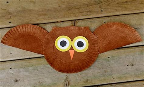 fall paper plate crafts paper plate owl family crafts